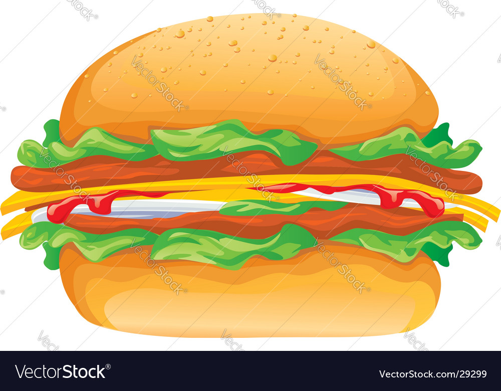 Hamburger rasterized illustration vector image