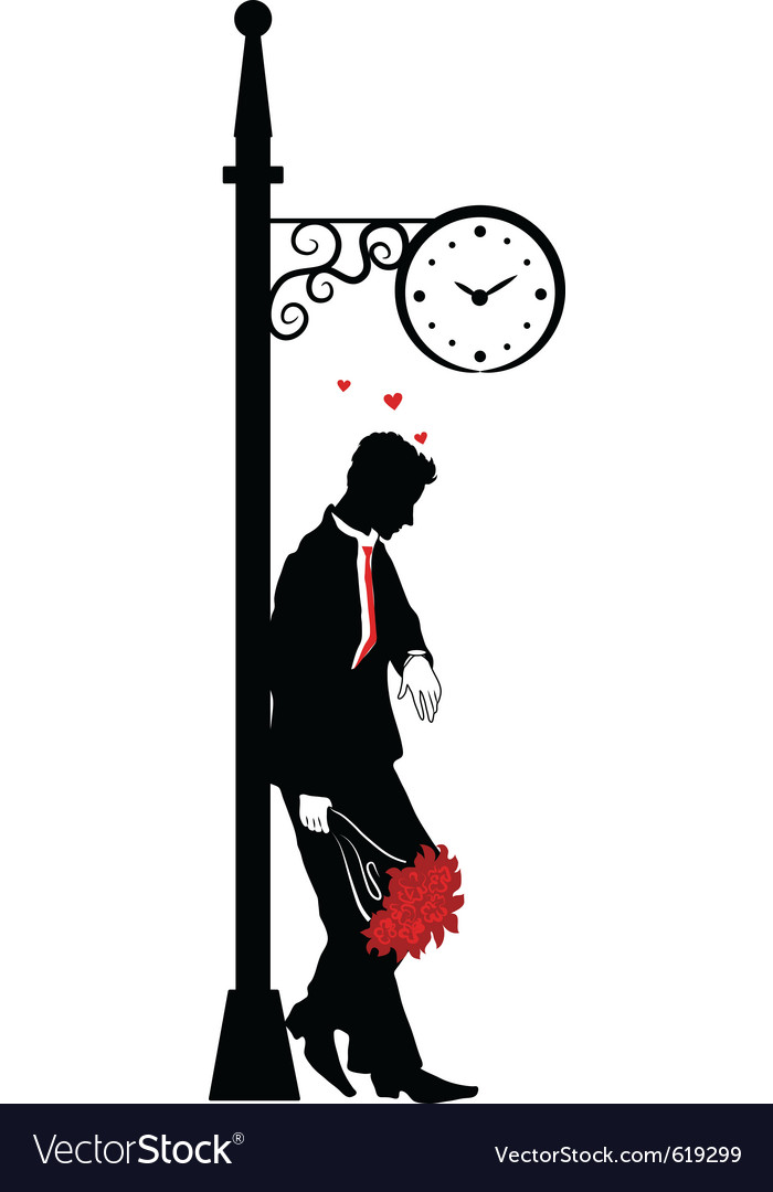 Man waiting for date Vector Image by Flamewave - Image ...