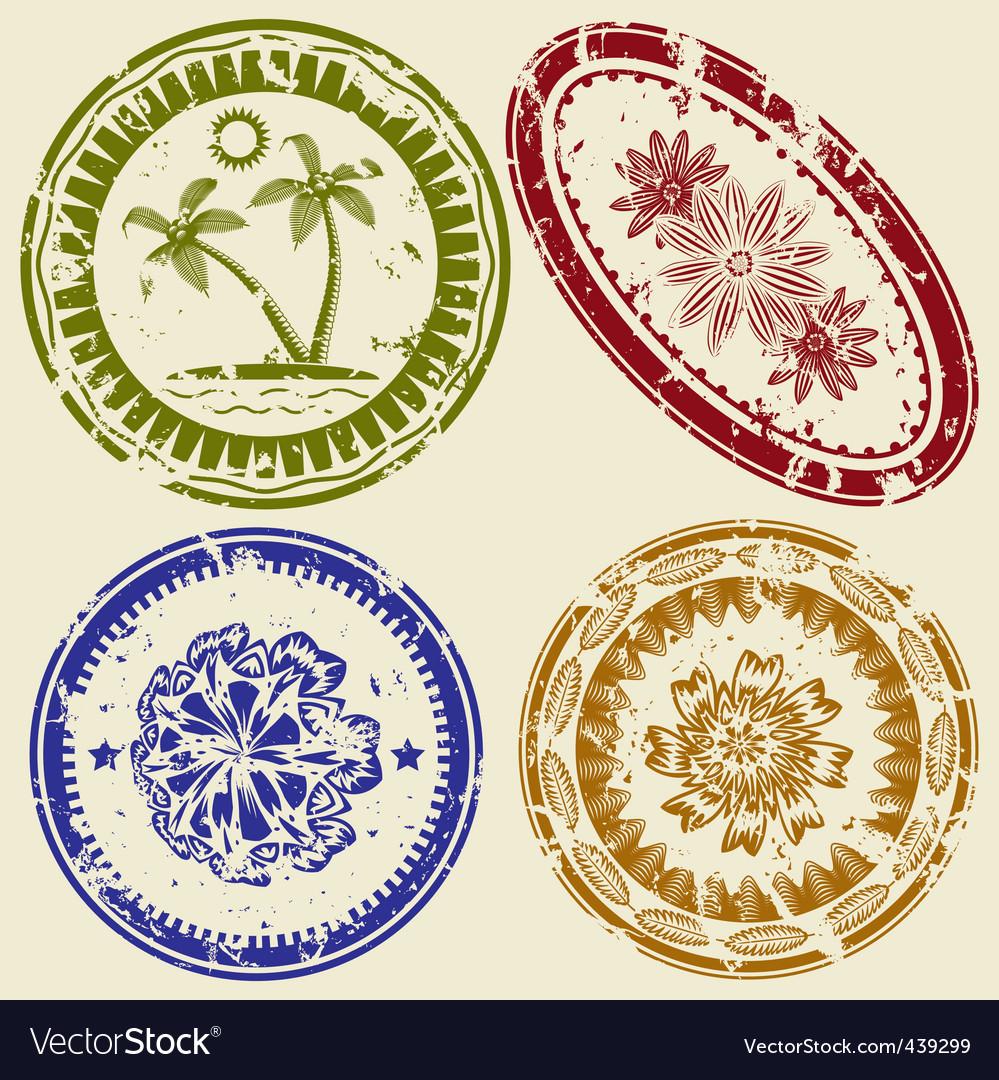 Postcard stamp set vector image