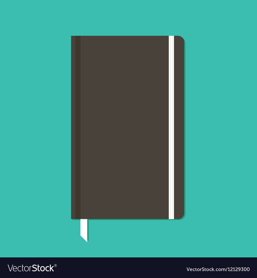 Black notebook with elastic band vector image