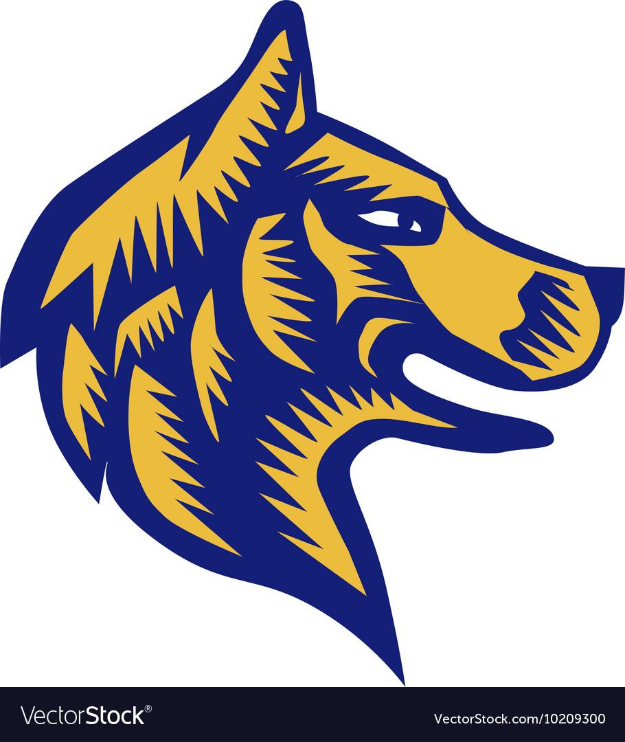 Husky Dog Head Woodcut vector image