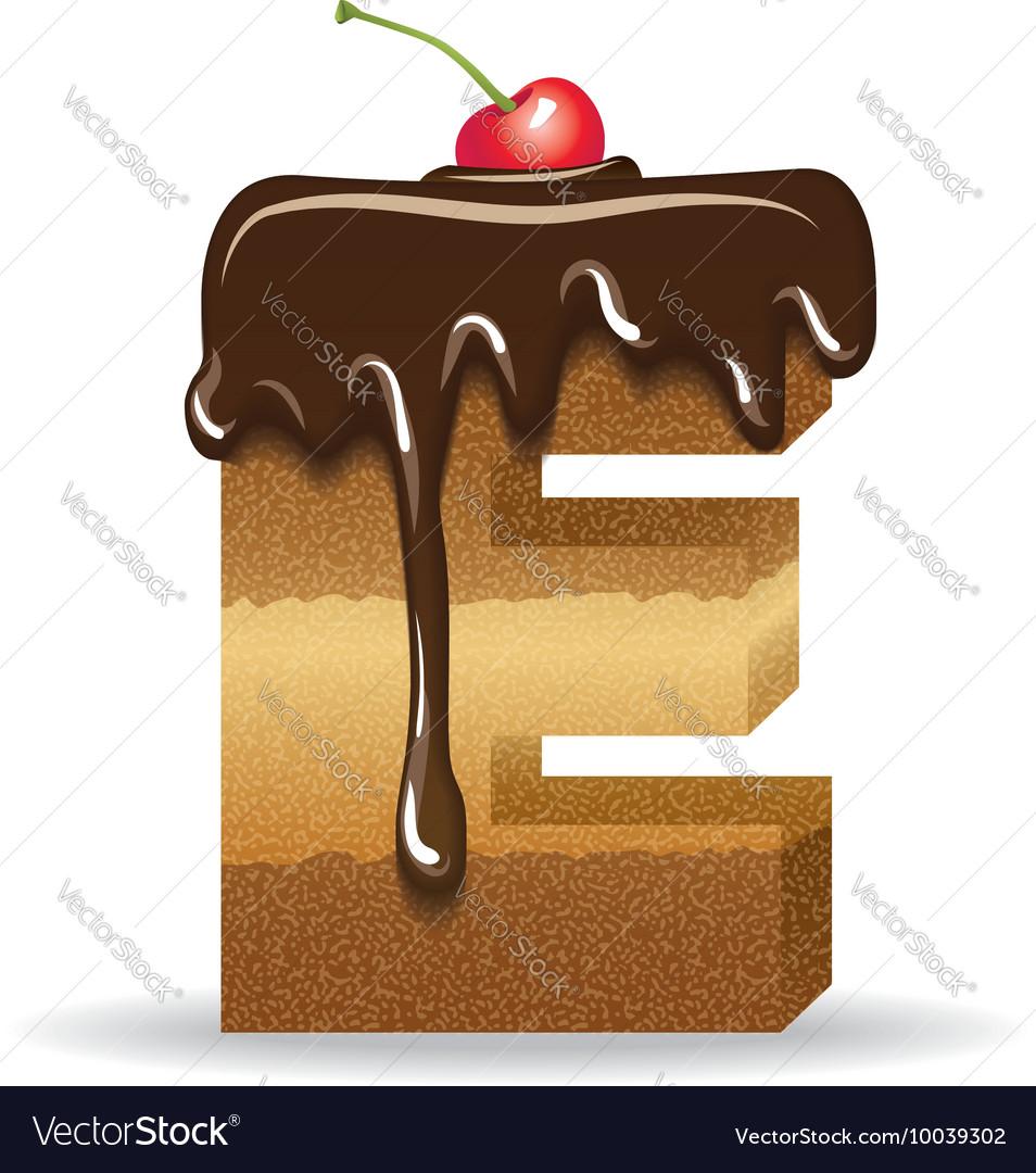 Cake letter E- birthday font vector image