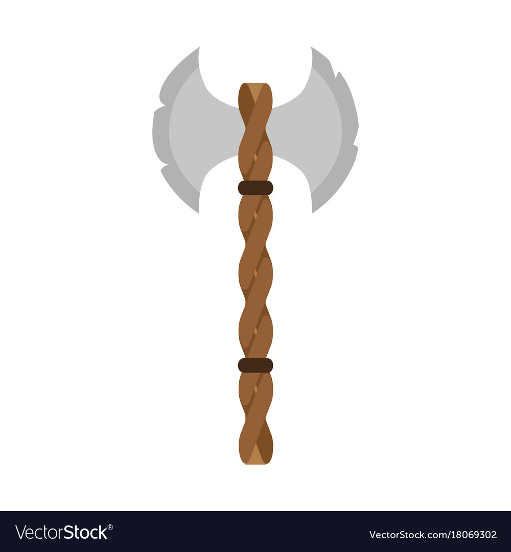 Viking axe battle weapon old warrior isolated vector image