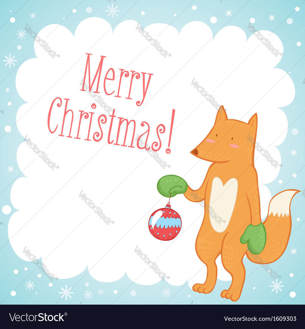 Fox with a hat new year or christmas animal isolated on white - Cute Fox Christmas Greeting Card Vector Image
