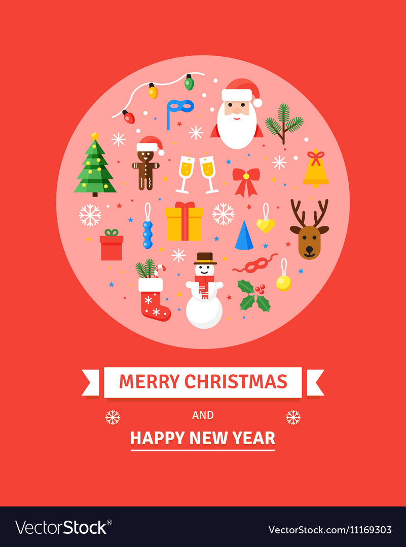 greeting christmas card new year symbols vector image