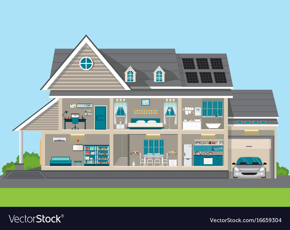 Modern home design exterior and interior room vector image