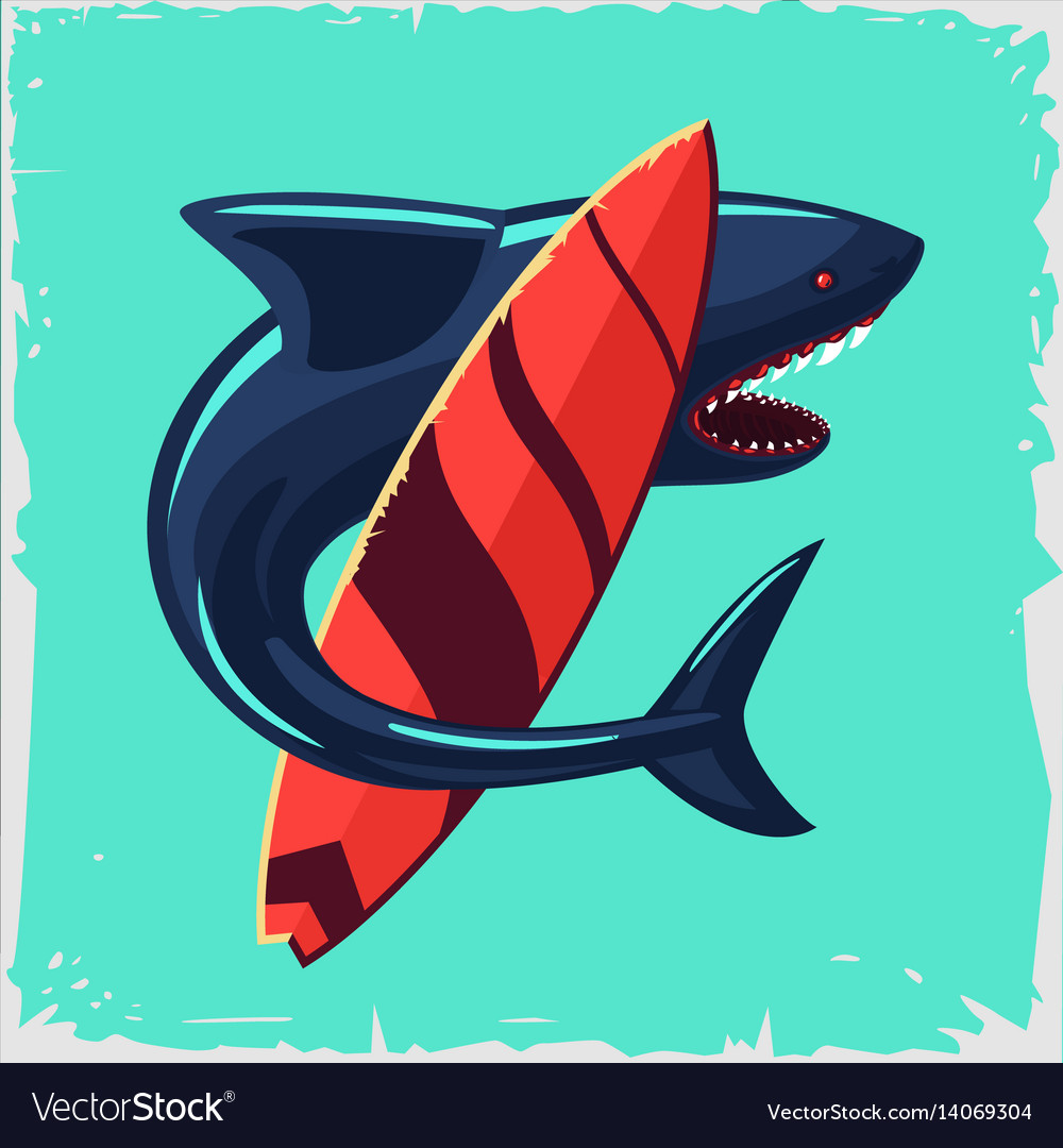 Surf and shark vintage poster with surfboard vector image