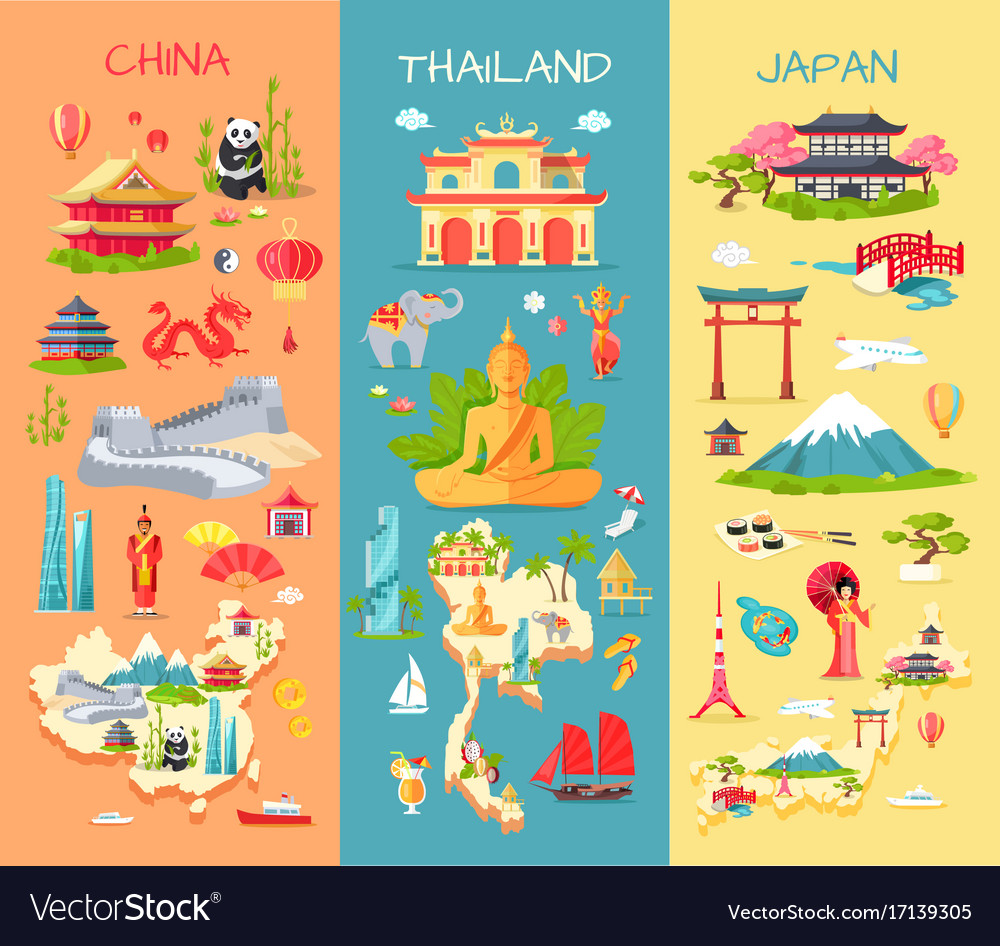 China thailand japan icons of asian countries vector image