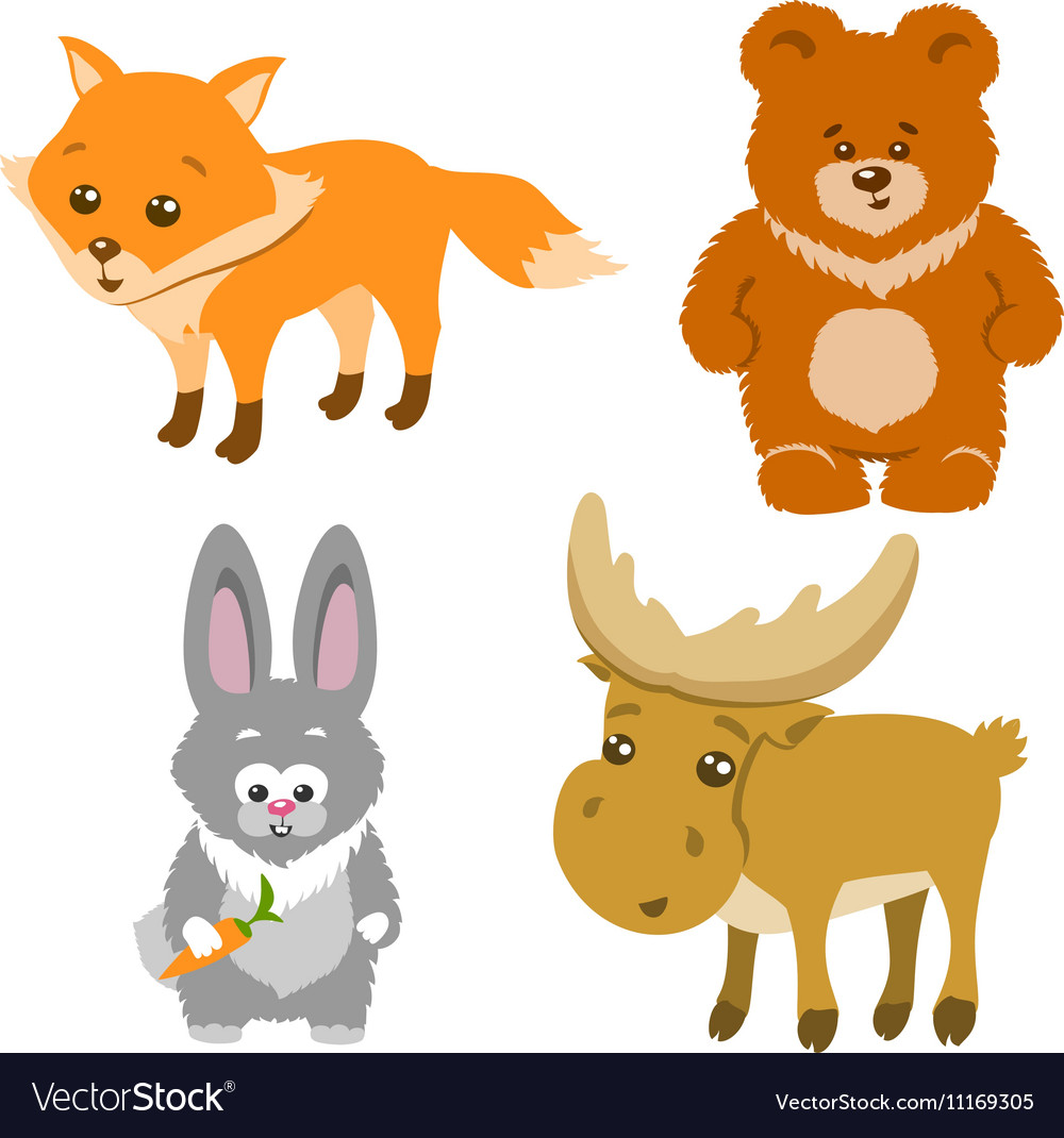 Cute Forest Animals Cartoon Style vector image