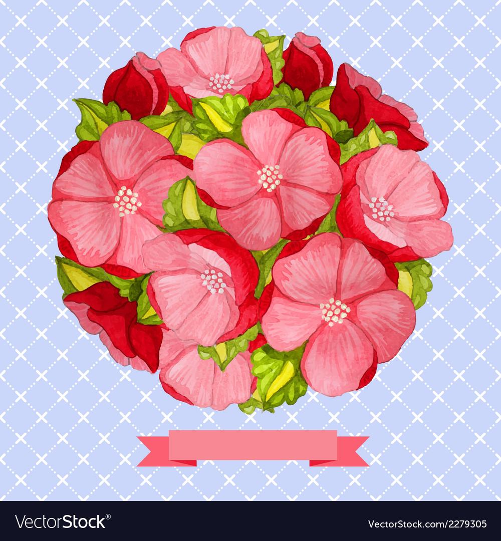 Round vintage watercolor bouquet of pink flowers vector image izmirmasajfo