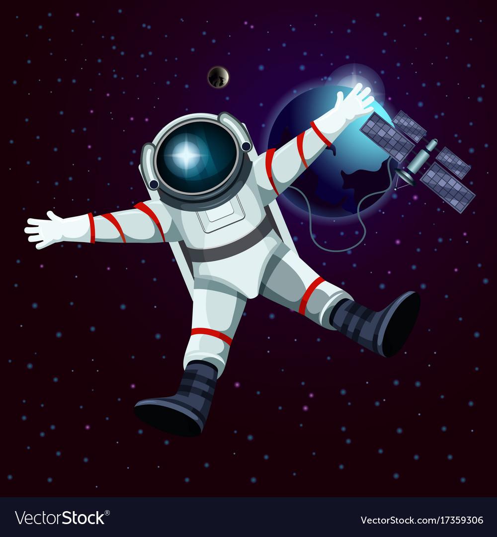 Spaceman or cosmonaut astronaut in space vector image