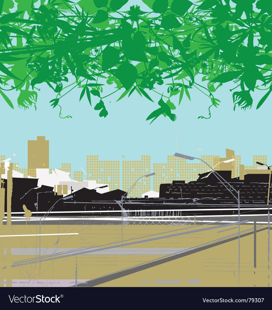 City and nature vector image