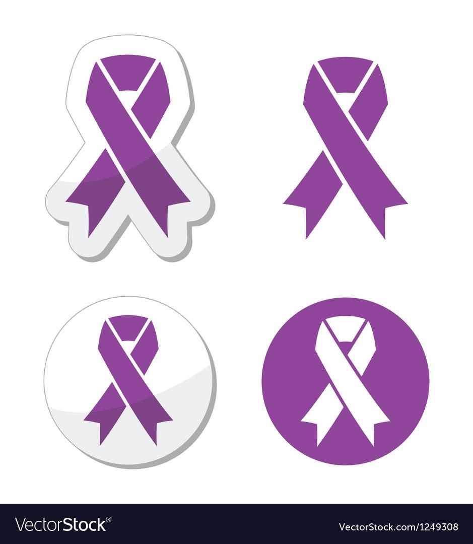 Purple ribbon pancreatic cancer symbol vector image