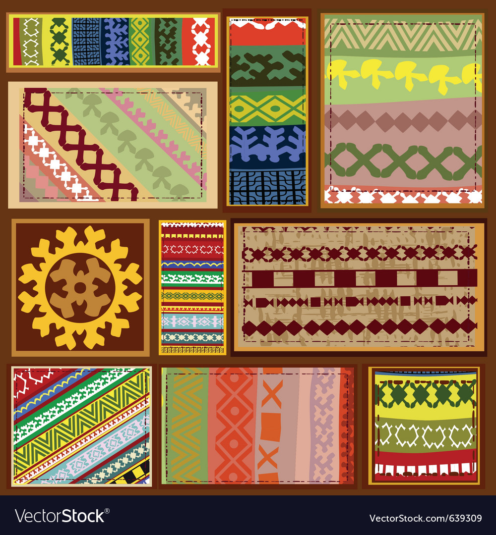 Siberian ethnic patterns vector image
