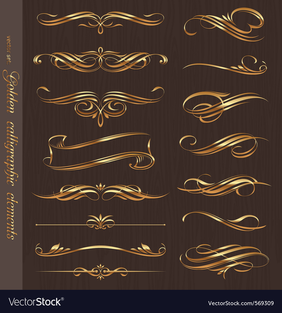 Golden calligraphic design elements vector image