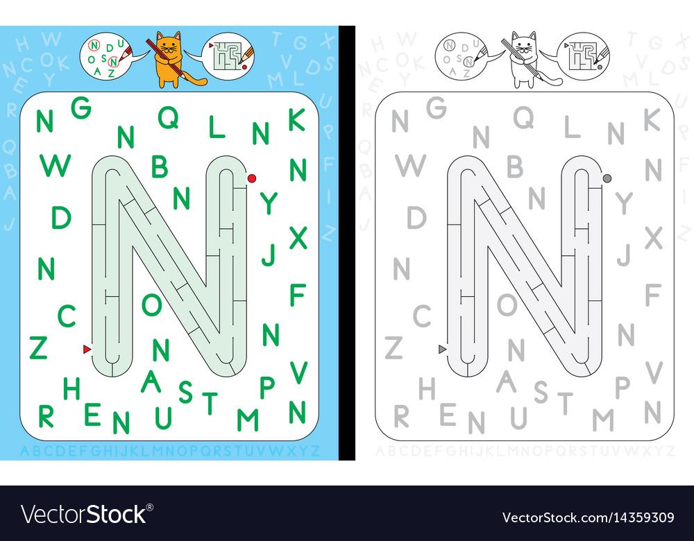 Maze letter n vector image