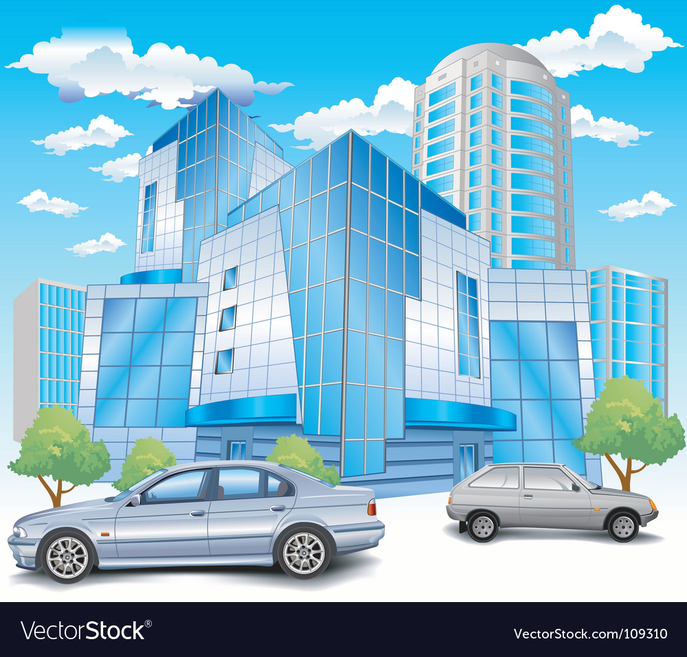 Building with parking vector image