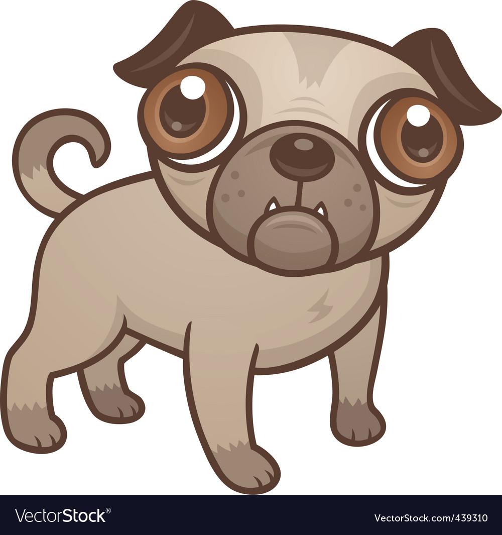 Pug puppy cartoon vector image