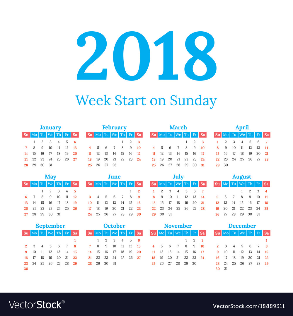 2018 calendar start on sunday vector image