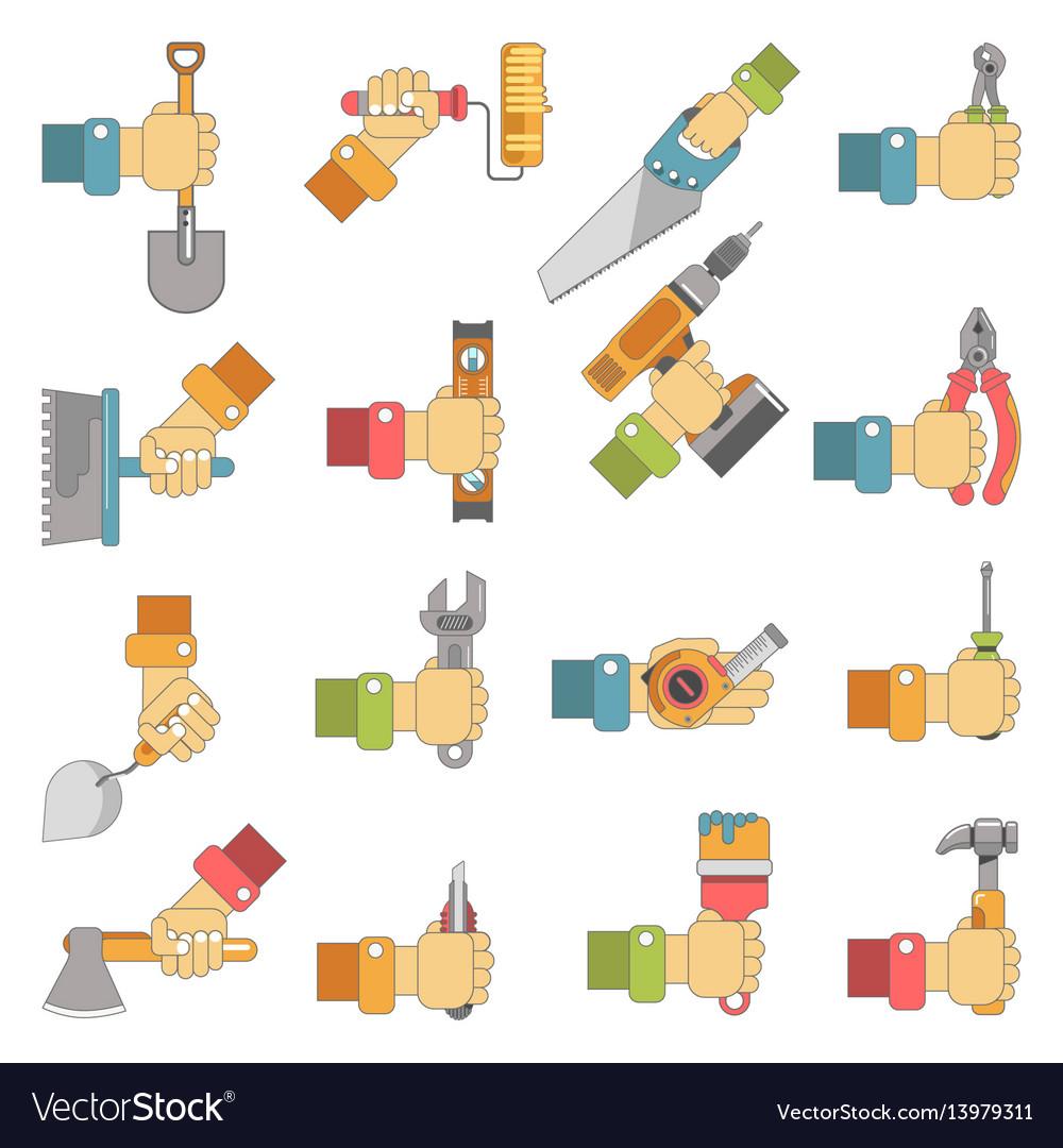 Hands holding repair carpentry work tools vector image