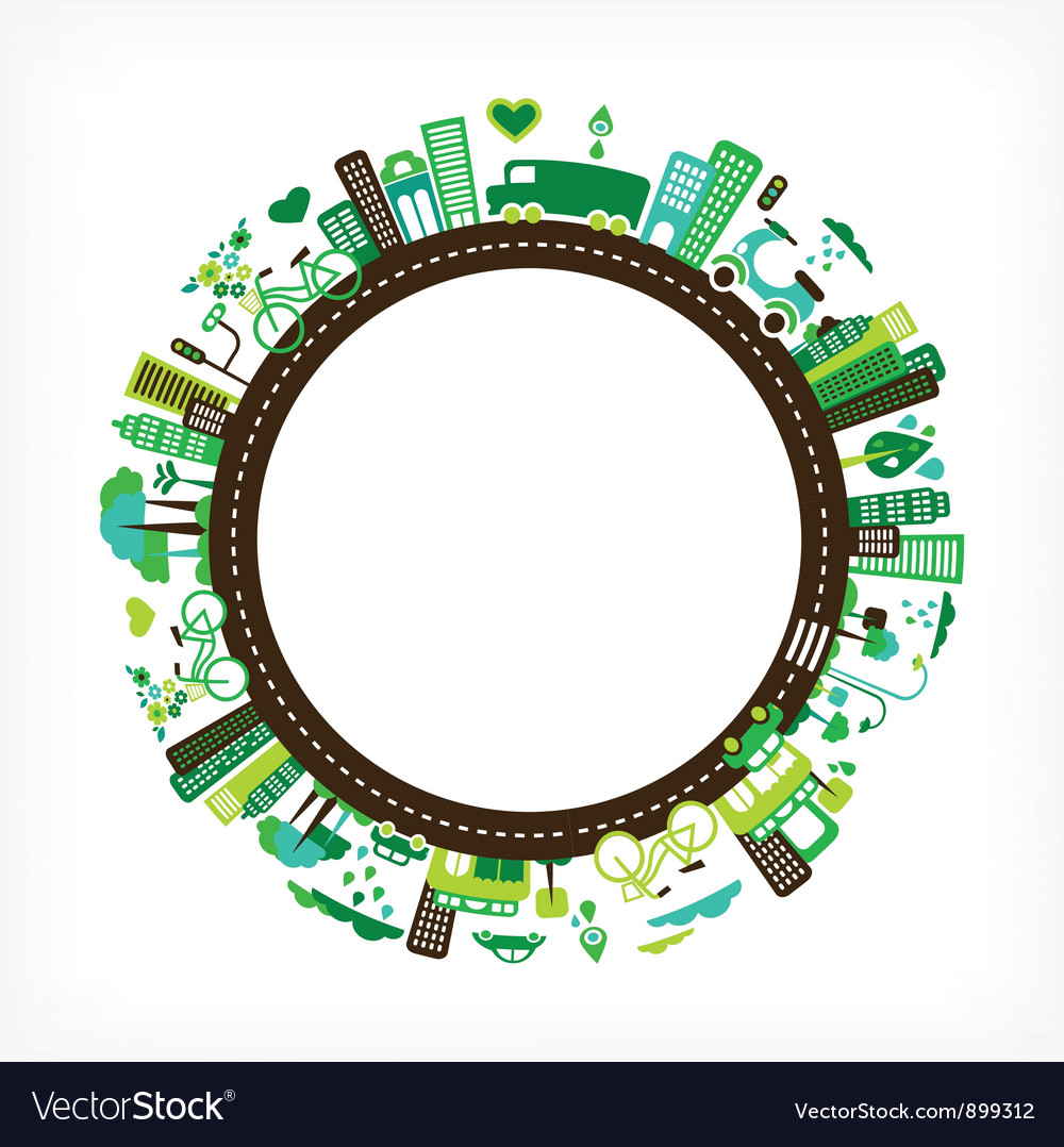 Circle with green city vector image