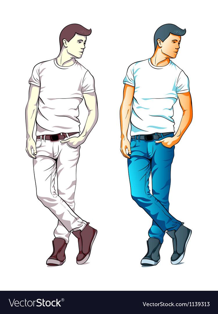 Fashion boy vector image