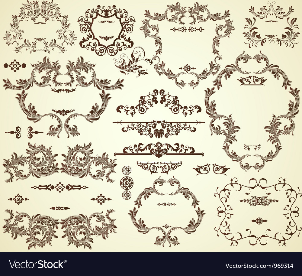 Collection of different vintage frames and text vector image