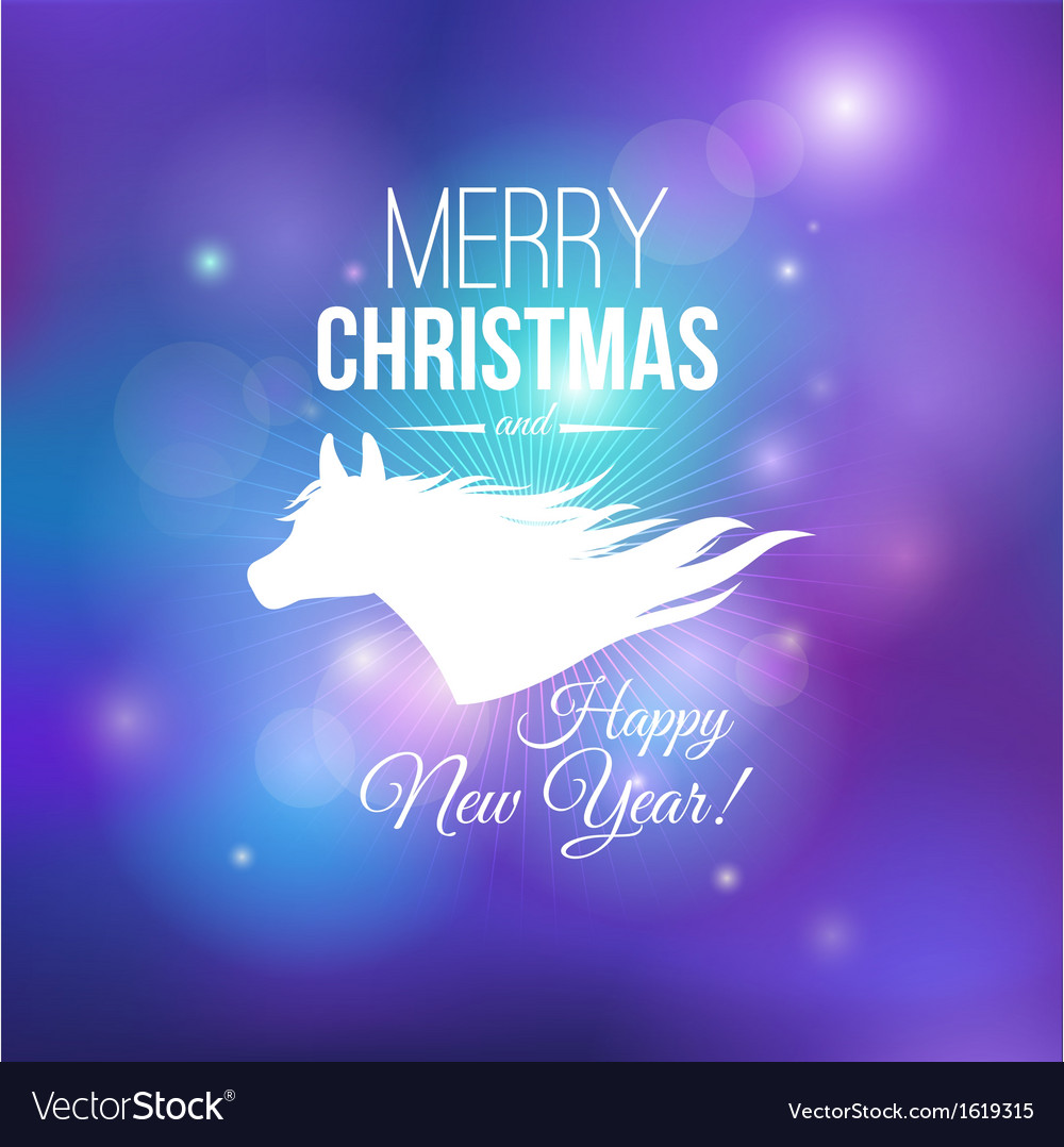 Merry Christmas and Happy New Year 2014 card vector image