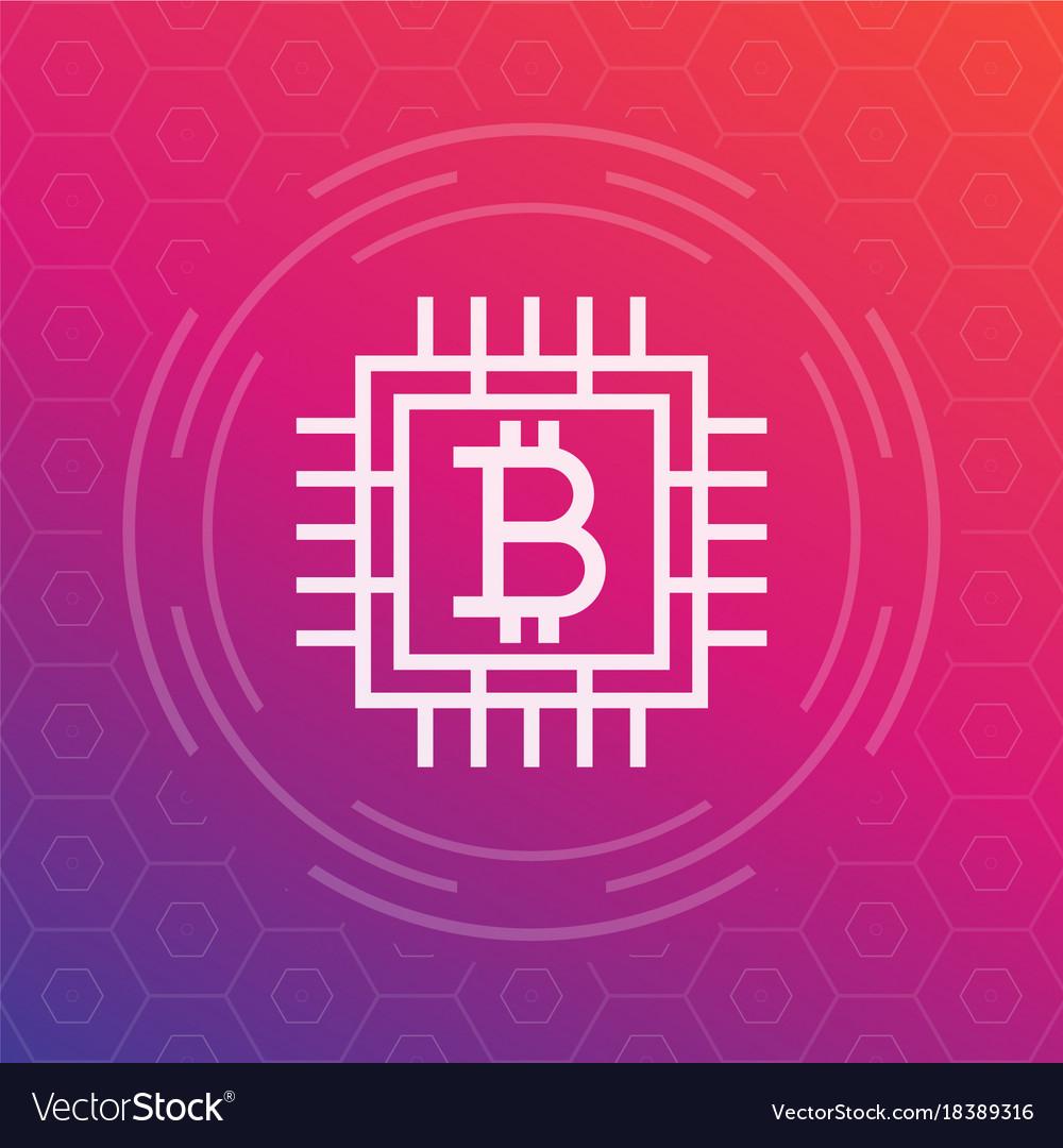 Bitcoin icon linear style vector image