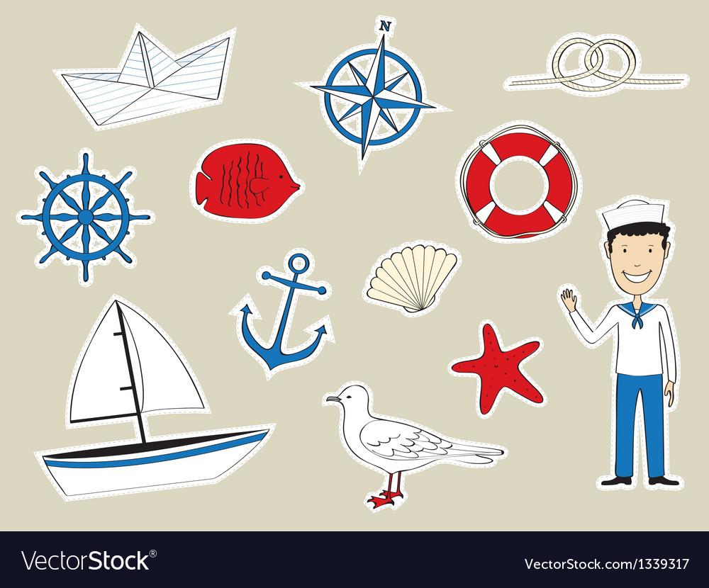 Funny nautical set vector image