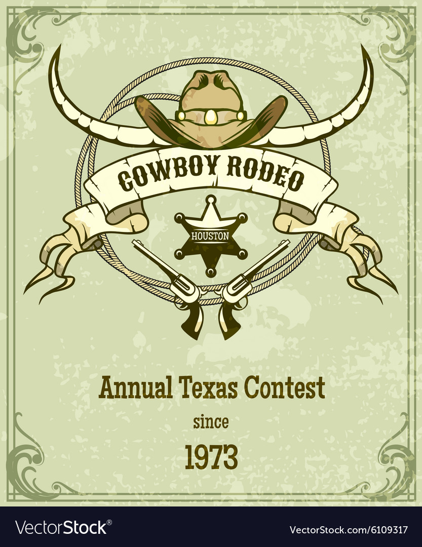 Retro style rodeo poster vector image