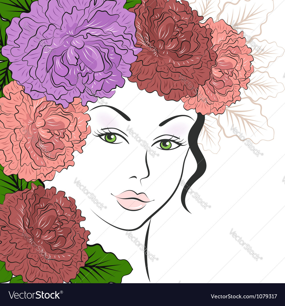 Romantic girl with floral hair vector image