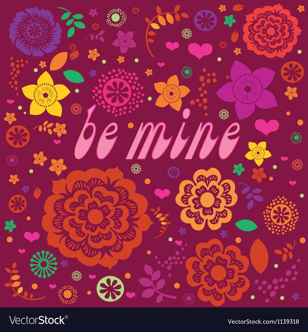 Floral ornamental valentine poster vector image