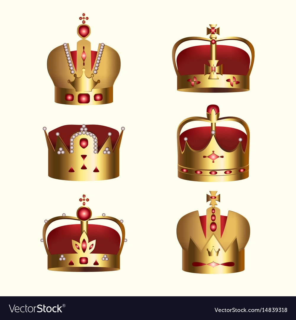 Golden monarchy crown isolated set vector image