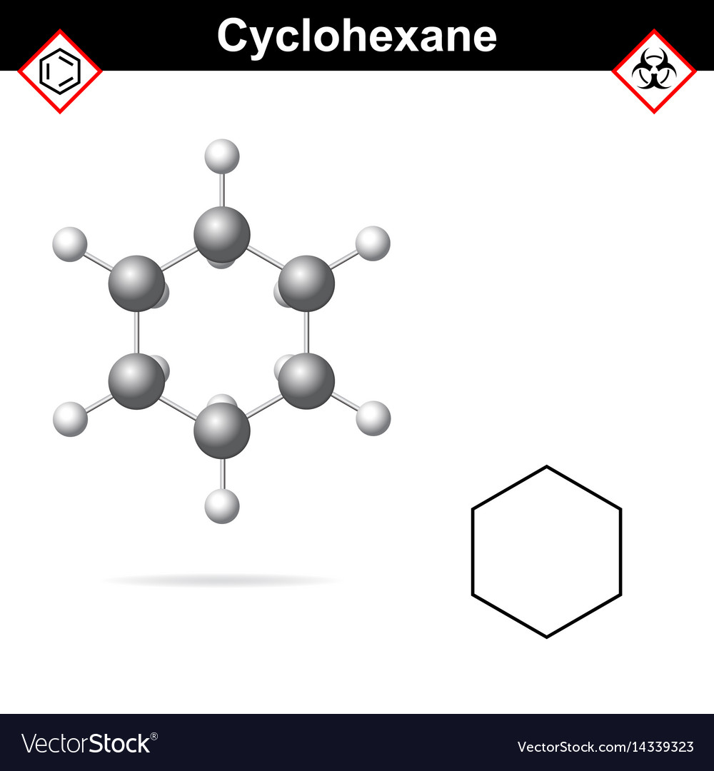 Cyclohexane chemical formula and molecular vector image