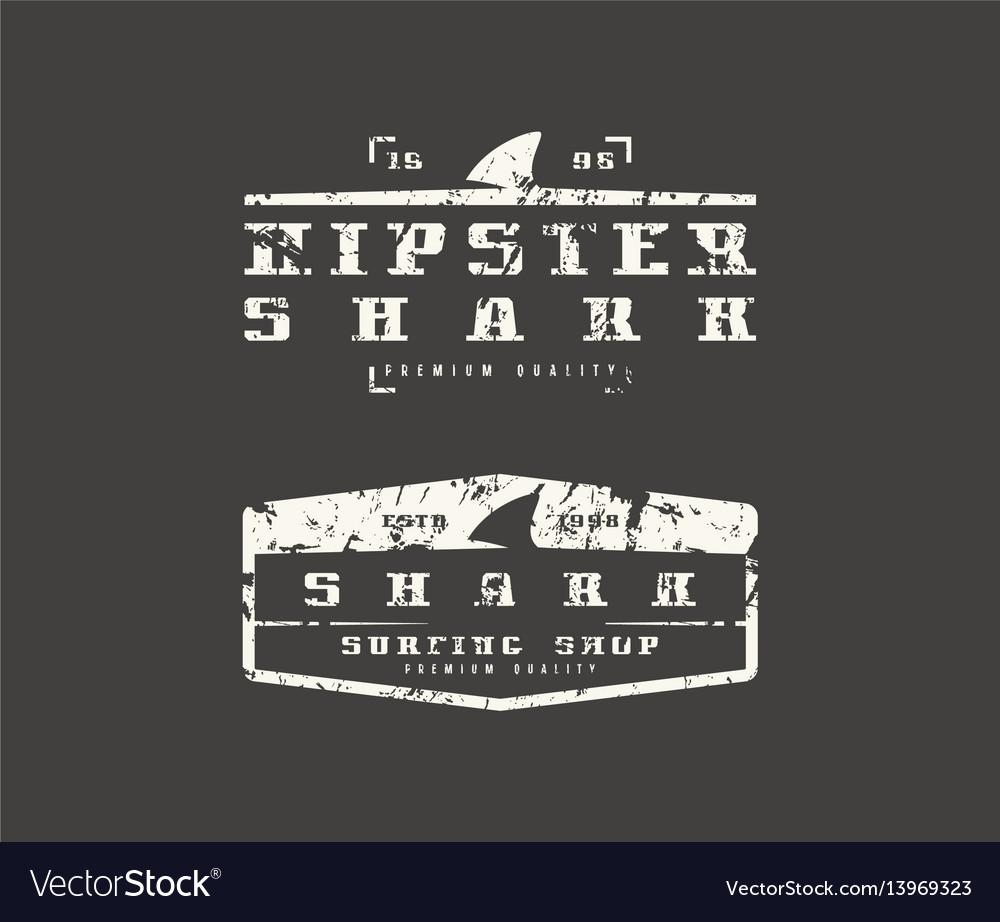 Shark fin emblems graphic design for t-shirt vector image