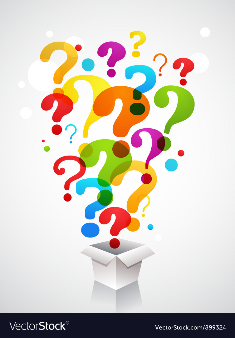 Box with question mark icons Vector Image
