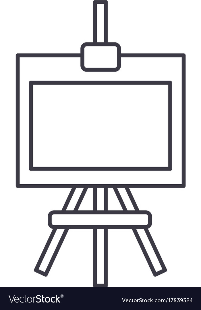 Molbert line icon sign on vector image