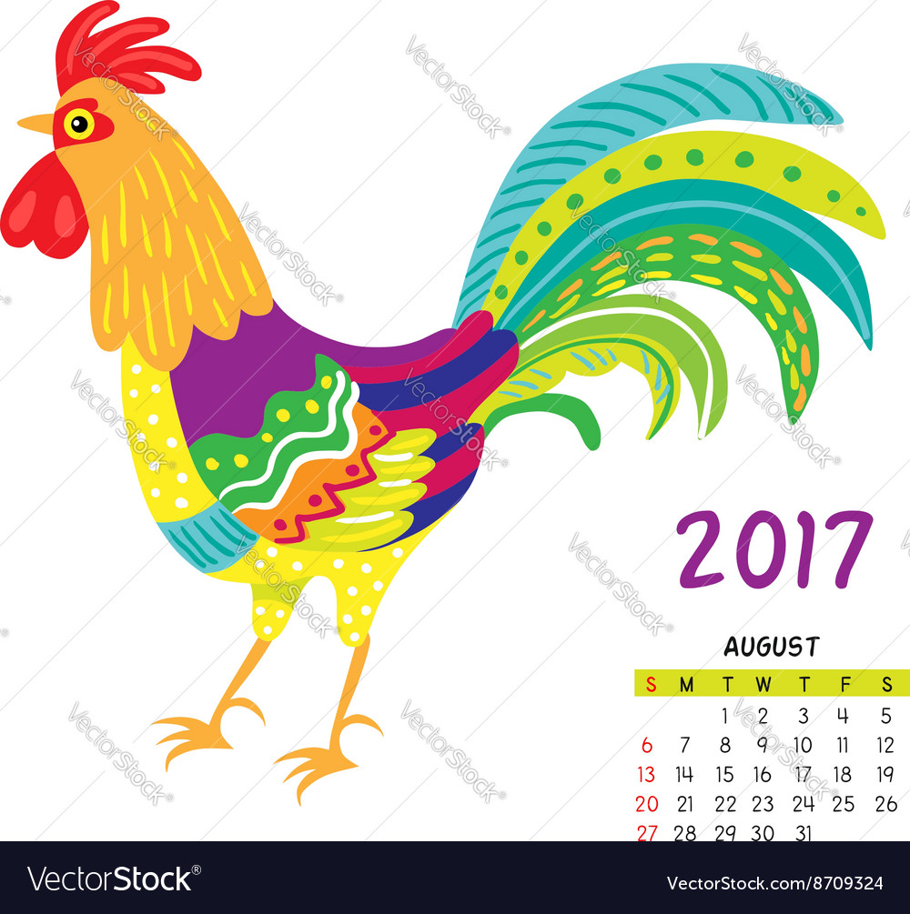Roosters calendar august vector image