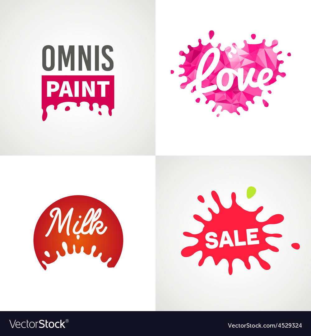 Set of different splatter design elements vector image
