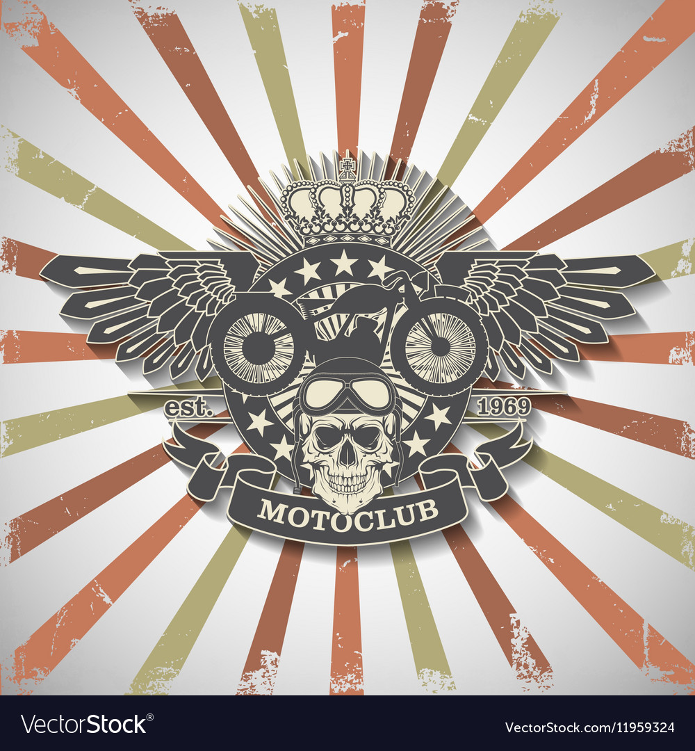 Stamp Moto club with a skull and wings vector image