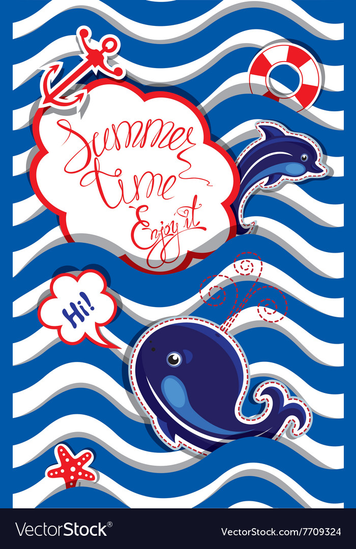Summer card striped 4 380 vector image