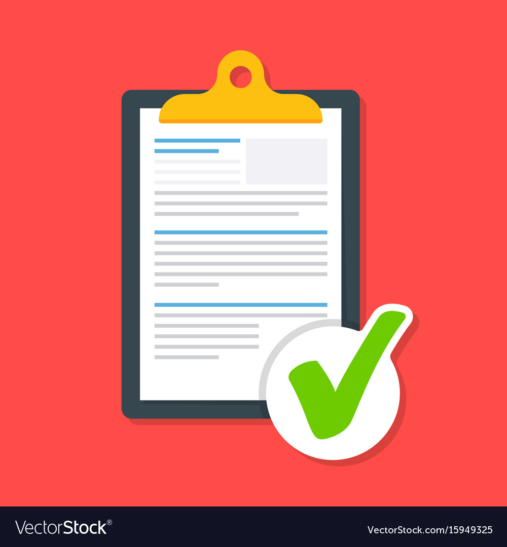 Business document on the clipboard with a tick vector image