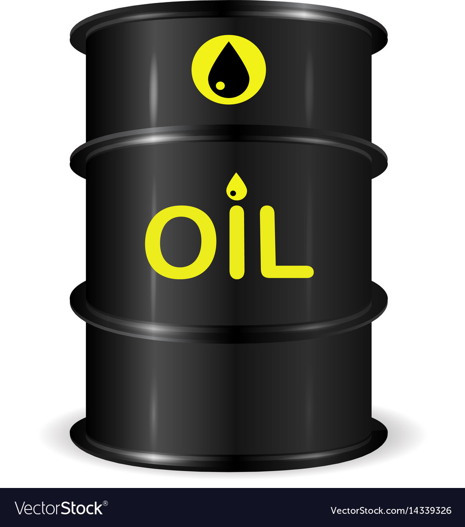 Single realistic oil barrel realistic object vector image