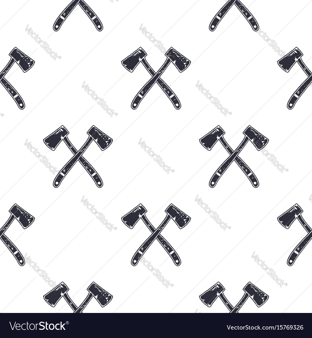 Vintage hand drawn crossed axes shape seamless vector image