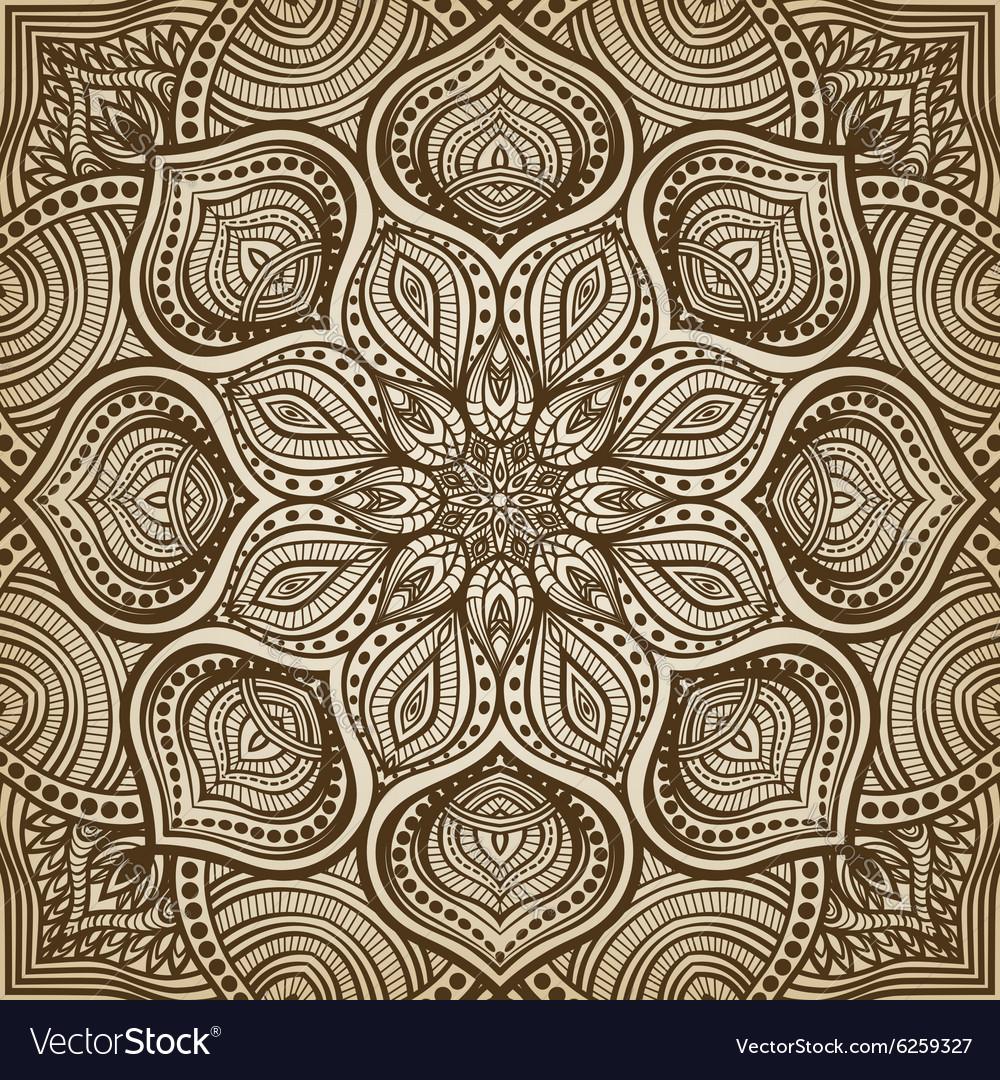 Mandala brown circular pattern background vector image