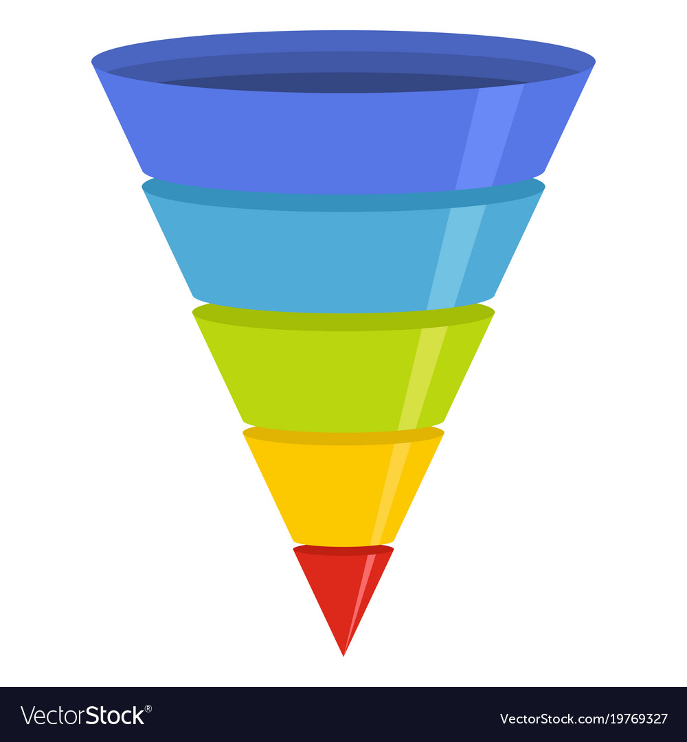 Marketing Funnel Icon Flat Style Royalty Free Vector Image