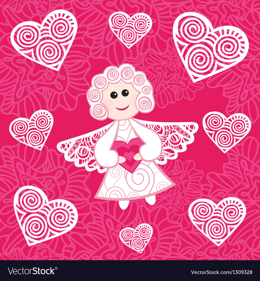 Angel hearts vector image