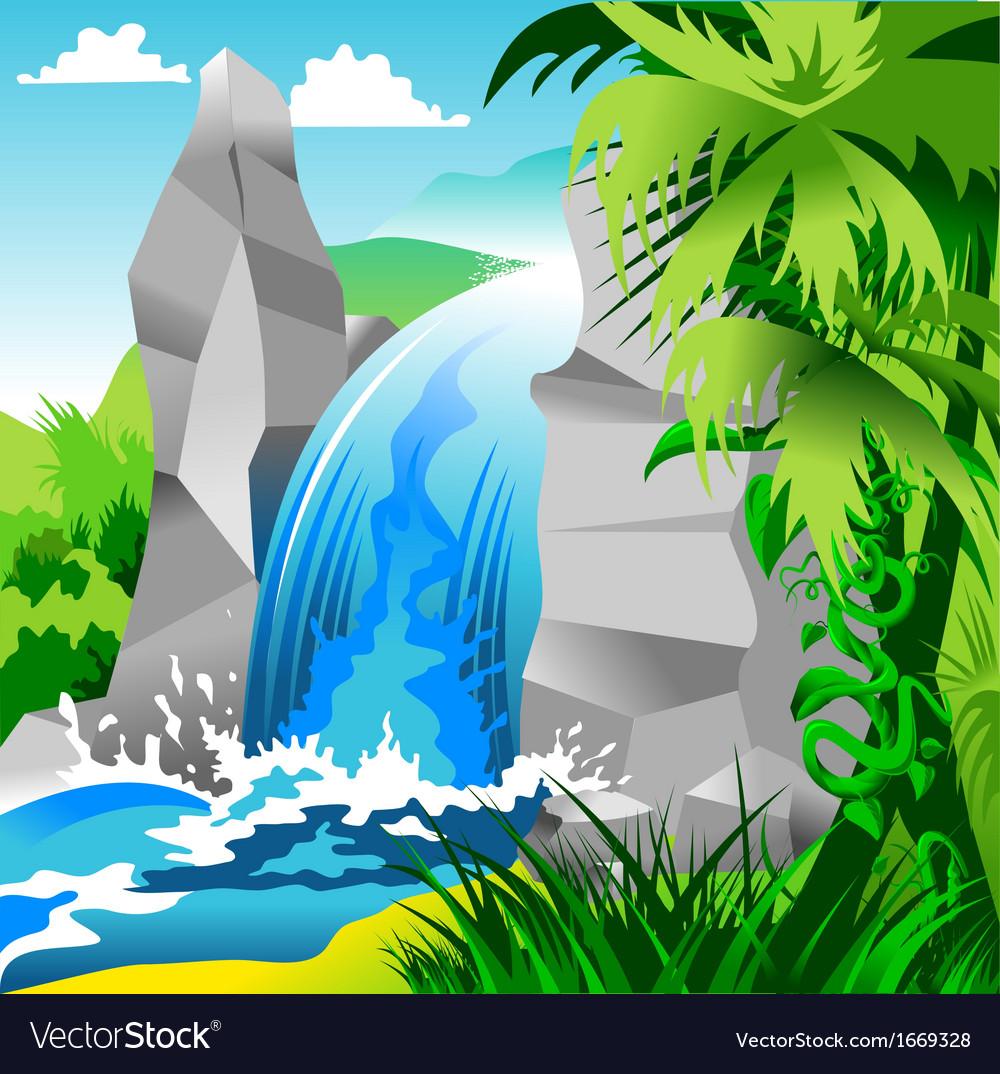 how to draw cartoon waterfall