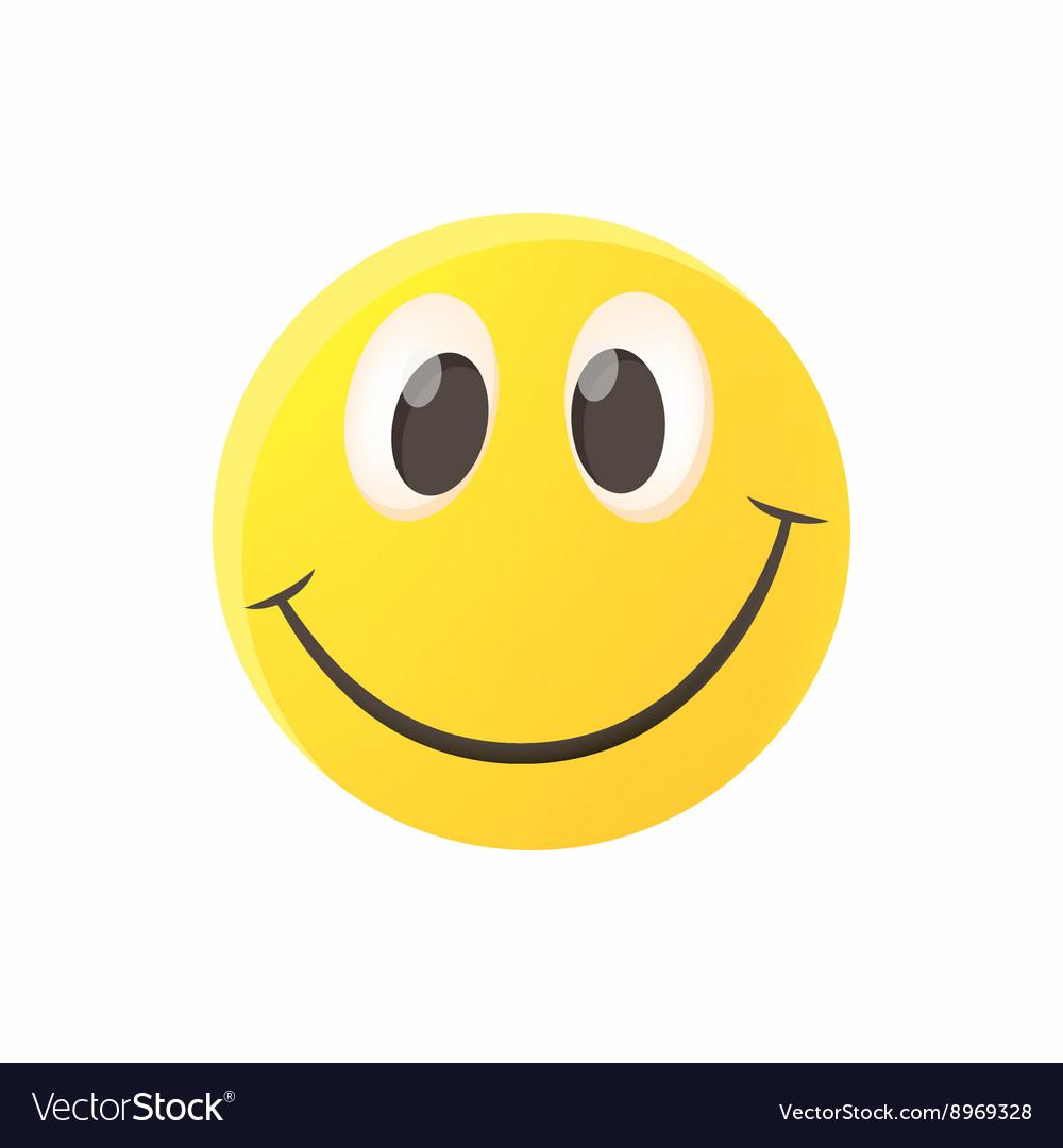 Smiling emoticon icon cartoon style vector image
